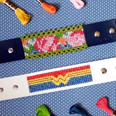 FREE cross-stitch patterns to make your own fashionable leather cuff bracelets! Stitching Leather, Leather Cuffs, Cross Stitching, Cross Stitch Embroidery, Embroidery Patterns, Sewing Patterns, Modern Cross Stitch Patterns, Cross Stitch Designs, Make Your Own Bracelet