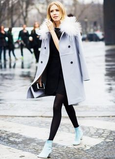 A baby blue coat and a black sweater dress are a great outfit formula to have in your arsenal. For a more relaxed take, grab a pair of baby blue suede booties.