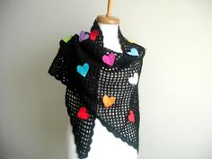 Colorful Hearts Valentines Day  Special Shawl by crochetlab, $56.00