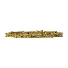14K Gold Gemstone Victorian Revival Link Bracelet, c. 1970s. $1350