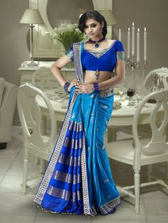 Deep Blue and Royal Blue Banarasi Silk Saree 14401 With Unstitched Blouse