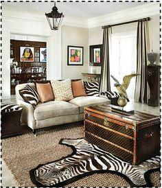 Rachellabelle Interiors  Zebra rug-check  Louis Vuitton trunk-check