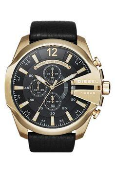 Men's DIESEL 'Mega Chief' Leather Strap Watch, 51mm