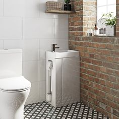 Orchard Compact white vanity unit with toilet roll holder & brush White Vanity Unit, Vanity Units, Toilet Roll Holder And Brush, Wall Hung Vanity, Downstairs Toilet, Basin Mixer Taps, Bathroom Toilets, Glass Shelves, Engineered Wood