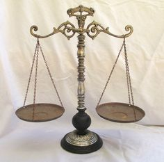 Vintage SCALE of JUSTICE Balance Scale Standing by TREASUREandSUCH, $37.00