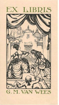 Ex Libris made by Anton Franciscus Pieck (Dutch, 1895-1987) for G. M. Van Wees, a Dutch bookplate ~ Anton Franciscus Pieck was a Dutch painter, artist and graphic artist. Pieck married Jo van Poelvoorde (died 1983) in 1922. The couple had three children, Elsa, Anneke and Max (died 1986). His works are noted for their nostalgic or fairy tale-like character and are widely popular, appearing regularly on cards and calendars.