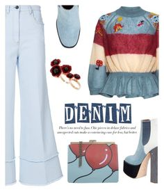 """""""Wide-Leg Denim"""" by dixiebelle81 ❤ liked on Polyvore featuring Laurence Dacade, Miu Miu, RED Valentino, Tammy & Benjamin, Futuro Remoto, Boots, jeans, denimtrend and widelegjeans"""