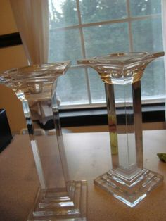 """Two 2 9"""" Crystal Candlestick Candle Holders Square Tall 