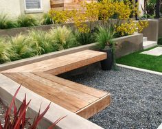 Stunning Back Yard Make Overs Decorating: Astounding Contemporary Landscape With Wooden Bench And Backyard Gravels For Makeovers ~ wangluopr.com Gardens Inspiration