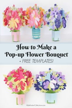 Learn to make pop up flower bouquet cards for Mother's day or any special occasion. Print then cut the free templates to DIY your own pop up flower cards.