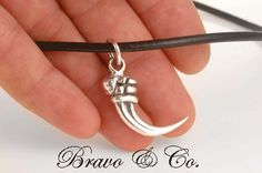 N-288 Hallmark 925 Sterling Silver Adjustable Leather TRIBAL Men Claw Necklace