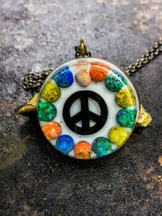 Orgonite Peace Sign Necklace  Free Shipping In by FountainOfSpirit