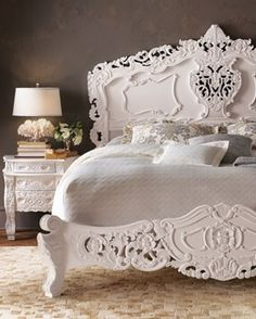 beautiful painted bed...reminds me of Pure White Chalk Paint®