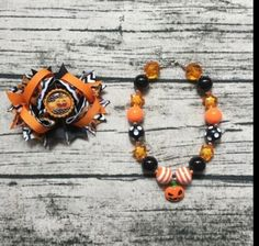 baby kids boutique halloween bows girl halloween accessories with matching pumpkin chunky necklace thanksgiving toddler jewelry