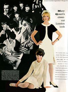 Seventeen Magazine designer Mary Quant color photo print ad models magazine black and white shift dress 60s And 70s Fashion, 60 Fashion, Retro Fashion, Vintage Fashion, Mary Quant, Moda Retro, Swinging London, Nostalgia, White Shift Dresses