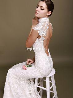 robe mariée Robe de mariage sirène sans manches au dos nu