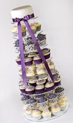 Purple and Silver Butterfly Wedding Cupcake Tower by Blue Door Bakery
