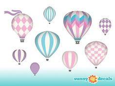 Hot Air Balloons Fabric Wall Decals Wall Decor Wall by SunnyDecals, $59.99