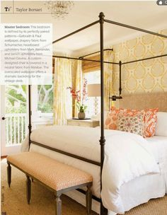 Currently Loving: Canopy Beds  note bench with coordinating cover....could do this in back bedroom...easy to change bench seat cover....