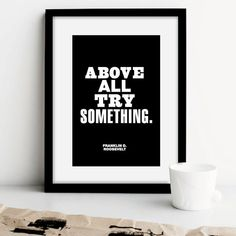 """Inspirational Quote Motivational Print """"Above All Try Something"""" Black & White Subway Typography Print Wall Decor Etsy Printable Download"""