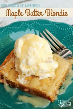 If you are looking for a dessert that will impress any guest, try Our Version of Applebee's Maple Butter Blondies. This is THE BEST dessert I have ever had!