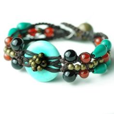 Women's Tai Turquoise Bracelet with Agate Beads