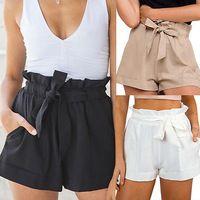 2016 mujeres atractivas del verano Boho ocasional Crepe cinturón pantalones cortos de cintura alta mayorista a corto