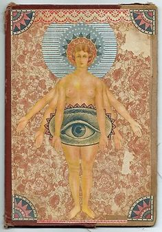 audreysmithart:    Anima Rising  March 2013  Mixed media on old book cover