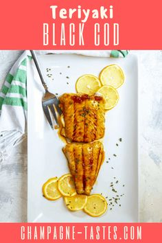 This easy black cod (or sablefish) recipe is made by marinating fish in homemade teriyaki sauce and baking it until it's tender and flaky. Meat Recipes, Seafood Recipes, Gourmet Recipes, Cooking Recipes, Black Cod, Date Night Recipes, Baked Cod, Champagne Taste