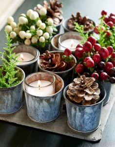 pinecones plants and candles in small metal holders Wooden Wreaths, Yarn Wreaths, Advent Wreaths, Floral Wreaths, Mesh Wreaths, Christmas Crafts To Make, Christmas Ideas, Christmas Tables, Nordic Christmas