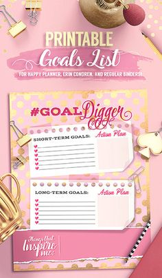 Printable Goal Digger Tracker List Insert Happy by ChloesPaperie