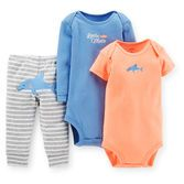 Perfect for playtime and soft enough for nap time, this 3-piece set is essential for every baby boy.