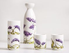 White Ceramic Sake Set 4 cups  Sea Lavender by yevgenia on Etsy, $100.00
