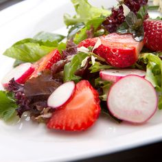 This Strawberry-Arugula Salad is perfect for a spring or summer  dish. #recipes