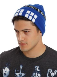 dc280d33551 Blue knit beanie from Doctor Who with an allover TARDIS design. One size  fits most acrylic Imported