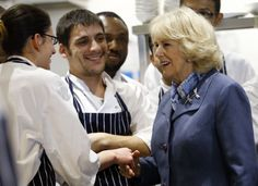 The chefs chatting with Duchess Camilla during her visit.