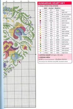 Hungarian Heart page 1 of 2 Xmas Cross Stitch, Just Cross Stitch, Cross Stitch Heart, Cross Stitch Flowers, Cross Stitching, Cross Stitch Embroidery, Embroidery Patterns, Cross Stitch Designs, Cross Stitch Patterns