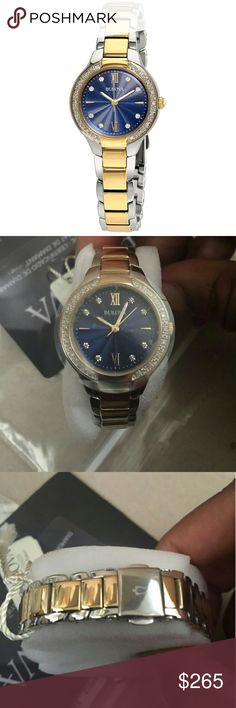 NWT Bulova $400 diamond blue dial watch NWT BULOVA Blue Dial Diamond Ladies Watch.   Firm price firm price firm price firm price  $265.00 . AUTHENTIC WATCH  . AUTHENTIC BOX  . AUTHENTIC MANUAL    SHIPPING  PLEASE ALLOW FEW BUSINESS DAYS FOR ME TO SHIPPED IT OFF.I HAVE TO GET IT FROM MY STORE.   THANK YOU FOR YOUR UNDERSTANDING. Bulova  Accessories Watches