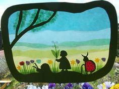 Jahreszeitentisch - Waldorf Transparentbild Frühlingswiese - ein Designerstück von Puppenprofi bei DaWanda