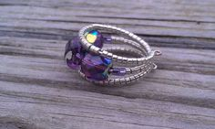 Purple and Silver Czech and Cane Glass Memory Ring