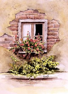 Window Flowers Painting by Sam Sidders - Window Flowers Fine Art Prints and Posters for Sale
