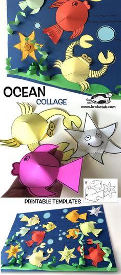 ideas sea animal art for kids preschool crafts Toddler Crafts, Diy Crafts For Kids, Projects For Kids, Art Projects, Diy Niños Manualidades, Ocean Crafts, Craft Activities, Children Activities, Art Children
