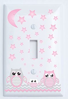 Grey and Pink Owl Light Switch Plate Covers Single Toggle  Owl Nursery Decor *** Want to know more, click on the image.