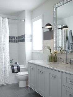 tile and vanity and mirror