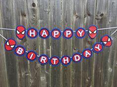 Items similar to Spiderman Inspired Birthday Banner - Happy Birthday Banner on Etsy - matilda Happy Birthday Banner Printable, Diy Birthday Banner, Happy Birthday Banners, Birthday Fun, Birthday Party Decorations, Birthday Ideas, Spiderman Theme, Superhero Theme Party, Superhero Font