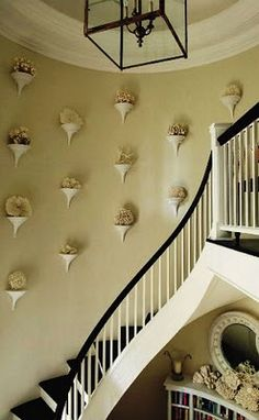 A striking display of coral on wall brackets in a stairwell.
