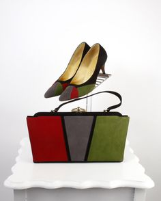 vintage 1960s purse and shoes matching set <> 4 color suede pumps and handbag by SteeleHollowVintage on Etsy https://www.etsy.com/listing/223421563/vintage-1960s-purse-and-shoes-matching
