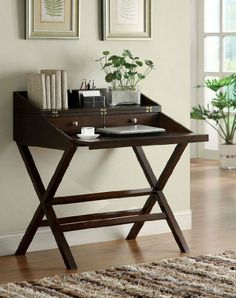 Banbridge Desk in Dark Brown by Furniture of America by Furniture of America. $278.73. X Design Leg Frame. Dark Brown Finish. Banbridge Desk by Furniture of America, featuring a dark brown finish and X design leg frame, is a perfect addition to any lliving room setting. Dimensions:36W x 24D x 35H - 40H Some assembly may be required. Please see product details.