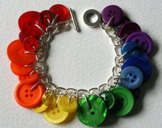 Bright Ruby Red Button Charm Bracelet by MrsGibson on Etsy