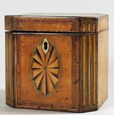teapot, tea time, wood patterns, caddi 1770, tea caddi, teas, box, antiqu, circa 1790